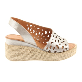 Brown Sandals on wedge Badura 4722 cappuccino