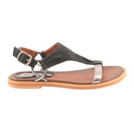 Sandals flat heel Daszyński silver black