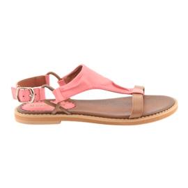 Sandals flat heel Daszyński Living Coral