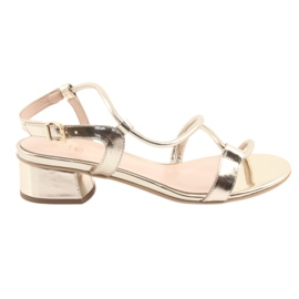 Yellow Sandals gold on heels Edeo 3386