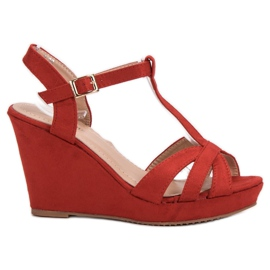 SHELOVET Suede Sandals red