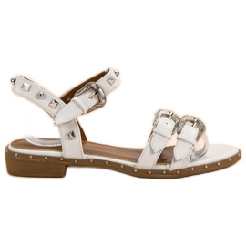 Small Swan White Sandals With Studs