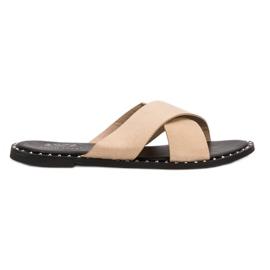 Small Swan Beige Suede Slippers brown