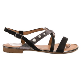 Small Swan black Sandals With Pearls