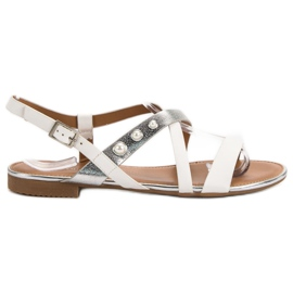 Small Swan white Sandals With Pearls