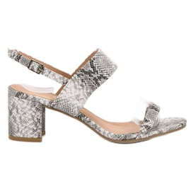 Ideal Shoes Fashionable Women's Sandals grey