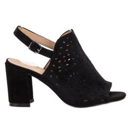 SHELOVET black Suede Built Sandals
