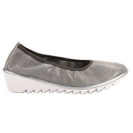 Filippo Leather Wedge Ballerina grey