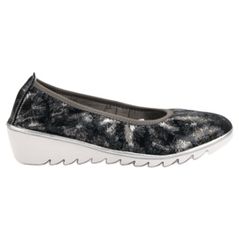 Filippo blue Navy Leather Ballet Shoes