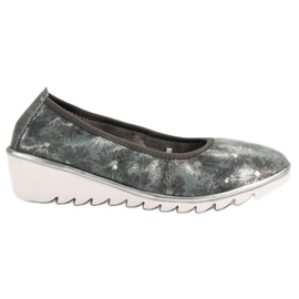 Filippo Dark gray Leather Ballet shoes grey