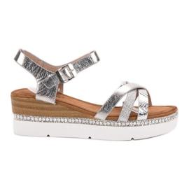 Seastar grey Fashionable sandals with zircons