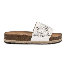 Goodin openwork white women's slippers