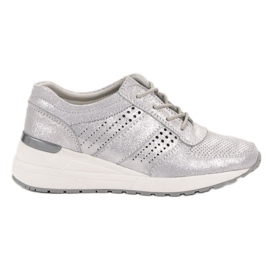 Grey Leather shoes VINCEZA