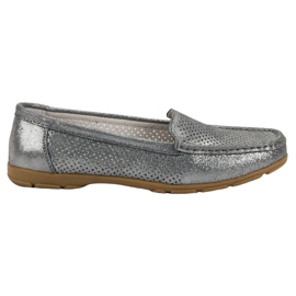 Grey VINCEZA leather moccasins