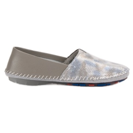 Goodin grey Leather Slip Shoes