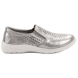 Kylie Silver Leather Shoes grey