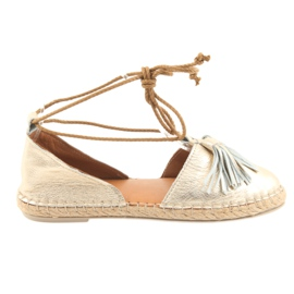 Yellow Badura women's espadrilles, tied 4875
