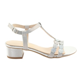 Grey Women's sandals stripes Gamis 3661 gray pearl