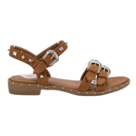 Small Swan brown Camel Sandals With Studs