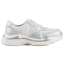 Goodin white Leather Sneakers With Brocade