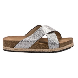 Goodin grey Comfortable Silver Slippers
