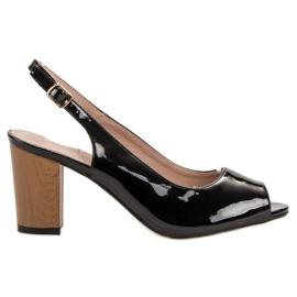 Goodin black Lacquered Women's Sandals