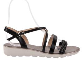 Kylie Black Sandals On The Platform