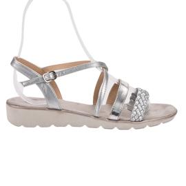 Kylie grey Silver Sandals On The Platform