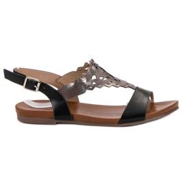 Kylie black Stylish Flat Sandals