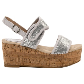 Kylie grey Sandals With Velcro