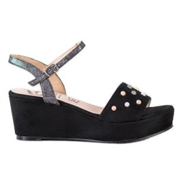 Aclys black Casual wedge sandals