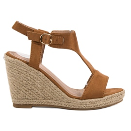 Anesia Paris brown Fashionable wedge sandals
