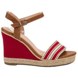 Primavera Casual wedge sandals red