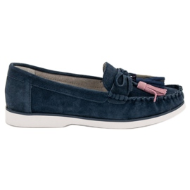 Filippo blue Leather Loafers With Fringes