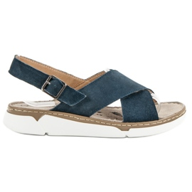 Filippo blue Leather Sandals On The Platform