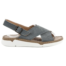 Filippo grey Leather Sandals On The Platform