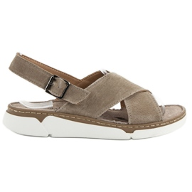 Filippo brown Leather Sandals On The Platform