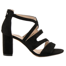Evento black Suede Sandals On A Bar
