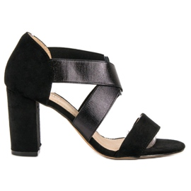 Evento black Slip-on Sandals With Elastic Band