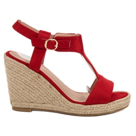 Anesia Paris Fashionable wedge sandals red