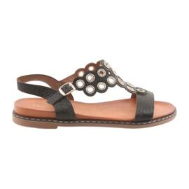 Women's black sandals zircons Sergio Leone