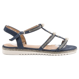 GUAPISSIMA Sandals With Pearls blue