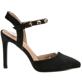 Kylie black Stilettos with an exposed heel