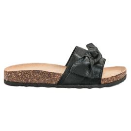 Queen Vivi black Casual Flip Flops With Brocade