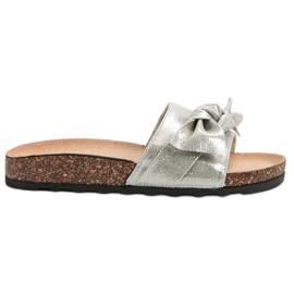 Queen Vivi grey Casual Flip Flops With Brocade