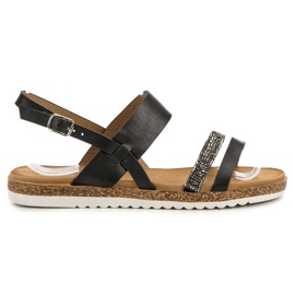 SHELOVET black Sandals With Cubic Zirconia