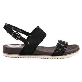 Evento Black Openwork Sandals