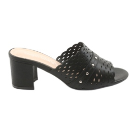 Women's black slippers Sergio Leone KL319