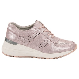 Filippo pink Leather Wedge Sneakers