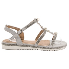 GUAPISSIMA Sandals With Pearls grey
